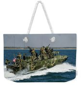 A Riverine Command Boat Conducts Weekender Tote Bag