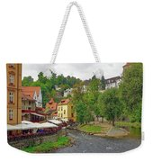 A Riverside Cafe Along The Vltava River In The Czech Republic Weekender Tote Bag
