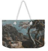A Rocky Wooded Landscape With Three Peasants Weekender Tote Bag