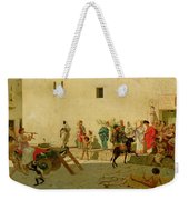 A Roman Street Scene With Musicians And A Performing Monkey Weekender Tote Bag