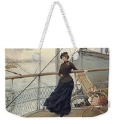 A Scottish Lady On A Boat Arriving In New York Henry Bacon Weekender Tote Bag