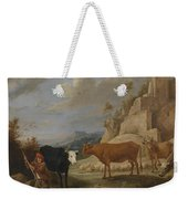 A Shepherd With His Flock In A Landscape With Ruins Weekender Tote Bag