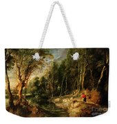 A Shepherd With His Flock In A Woody Landscape Weekender Tote Bag