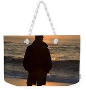 A Silhouetted Figure Enjoys The Ocean Weekender Tote Bag