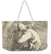 A Sleeping Warrior Seated On A Rock And Leaning On His Shield Weekender Tote Bag