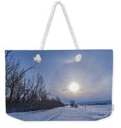 A Solar Halo Around The Sun At The End Weekender Tote Bag