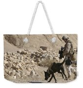 A Soldier And His Dog Search An Area Weekender Tote Bag