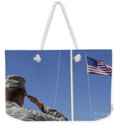A Soldier Salutes The American Flag Weekender Tote Bag
