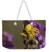 A Spider Eats A Bumblebee While Perched Weekender Tote Bag