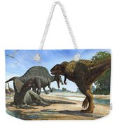A Spinosaurus Blocks The Path Weekender Tote Bag