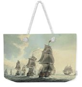 A Squadron Of The Royal Navy Running Down The Channel And An East Indiaman Preparing To Sail Weekender Tote Bag