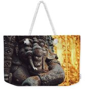 A Statue Of A Intricately Designed Holy Hindu Elephant Ganesha In A Sacred Temple In Bali, Indonesia Weekender Tote Bag
