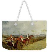 A Steeplechase - Taking A Hedge And Ditch  Weekender Tote Bag
