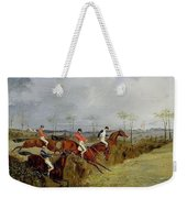 A Steeplechase - Taking A Hedge And Ditch Henry Thomas Alken Weekender Tote Bag