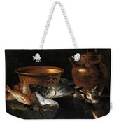 A Still Life Of Fish With Copper Pans And A Cat  Weekender Tote Bag