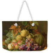 A Still Life Of Melons Grapes And Peaches On A Ledge Weekender Tote Bag