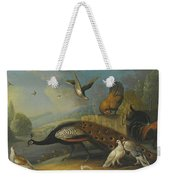 A Still Life With A Peacock, Pigeons And Chickens In A River Landscape Weekender Tote Bag