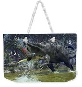 A Suchomimus Snags A Shark From A Lush Weekender Tote Bag