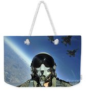 A Three-ship Formation Of F-15e Strike Weekender Tote Bag