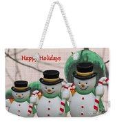 A Three Snowman Holiday Weekender Tote Bag