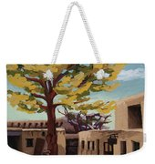 A Tree Grows In The Courtyard, Palace Of The Governors, Santa Fe, Nm Weekender Tote Bag