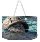 A U.s. Marine Swims Across A Training Weekender Tote Bag