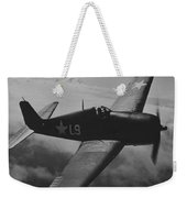 A Us Navy Hellcat Fighter Aircraft In Flight Weekender Tote Bag