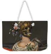 A Vanitas Bust Of A Lady With A Crown Of Flowers On A Ledge Weekender Tote Bag