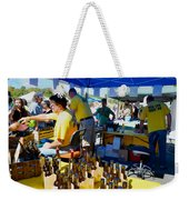 A Vendor At The Garlic Fest Offers Garlic Vinegar And Olive Oil For Sale Weekender Tote Bag