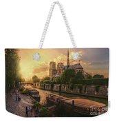 A View From Bridge Pont De L Archeveche, Archbishop Bridge, Infront Of Notre Dame De Paris Cathedr Weekender Tote Bag