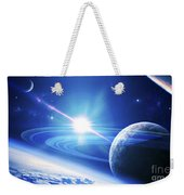 A View Of A Planet As It Looms In Close Weekender Tote Bag by Kevin Lafin