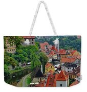 A View Of Cesky Krumlov And Castle In The Czech Republic Weekender Tote Bag