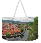 A View Of Cesky Krumlov And The Vltava River In The Czech Republic Weekender Tote Bag