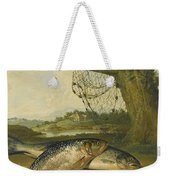 A View On The River Derwent At Belper Derbyshire With A Salmon And A Grayling On The Bank Weekender Tote Bag