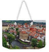 A View Overlooking The Vltava River And Cesky Krumlov In The Czech Republic Weekender Tote Bag