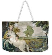 A Virgin With A Unicorn Weekender Tote Bag