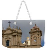 A Well Placed Ray Of Sunshine - Noto Cathedral Saint Nicholas Of Myra Against A Cloudy Sky Weekender Tote Bag
