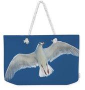 A White Gull Flying In Sky Weekender Tote Bag