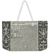 """A White Line Border With Two Cartouches: """"a Satyr Sacrificing A Ram,"""" And """"the Choice Of Hercules"""" Weekender Tote Bag"""