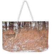 A White-tailed Deer In A Snow Storm Weekender Tote Bag