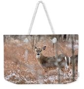 A White-tailed Deer In The Snow Weekender Tote Bag
