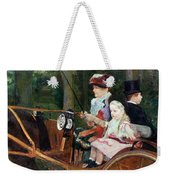 A Woman And Child In The Driving Seat Weekender Tote Bag