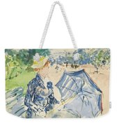 A Woman Seated At A Bench On The Avenue Du Bois Weekender Tote Bag