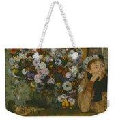 A Woman Seated Beside A Vase Of Flowers Weekender Tote Bag