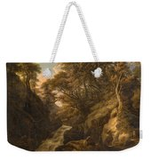 A Wooded Landscape With A Waterfall And A Fisherman Walking Along A Path Weekender Tote Bag