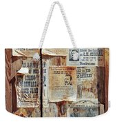 A Wooden Frame Full Of Wanted Posters Weekender Tote Bag