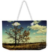 A Yellow Tree In A Middle Of A Dry Field - Wide Angle Weekender Tote Bag