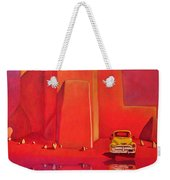 A Yellow Truck With A Red Moon In Ranchos Weekender Tote Bag by Art West