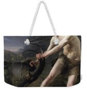 A Young Man Fighting A Goat Weekender Tote Bag