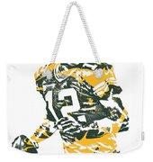Aaron Rodgers Green Bay Packers Pixel Art 15 Weekender Tote Bag